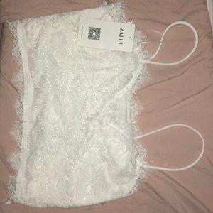 Zaful white lace crop top